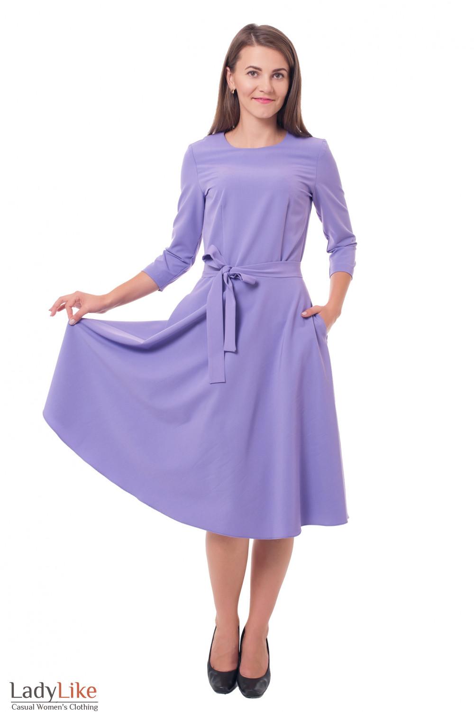 Купить платье пышное с поясом фиолетовое Деловая женская одежда фото