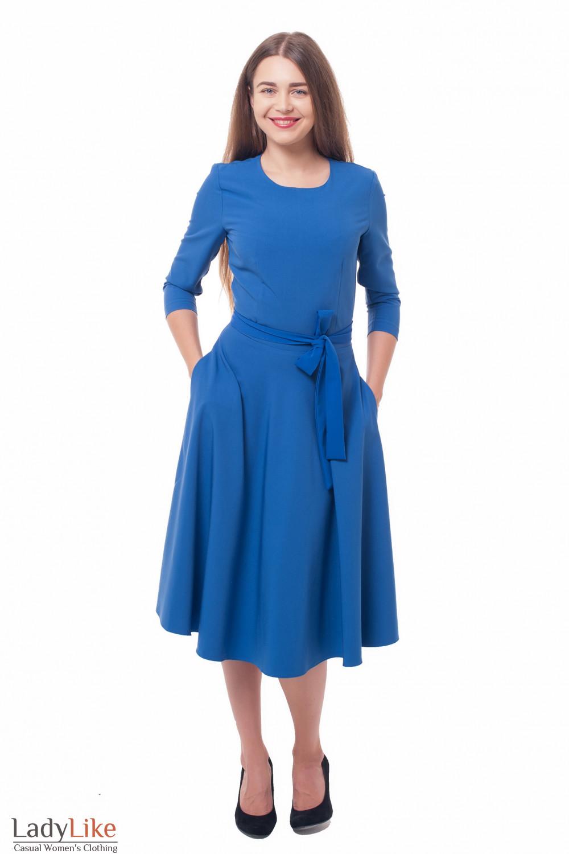 Купить платье пышное с поясом ярко-синее Деловая женская одежда фото