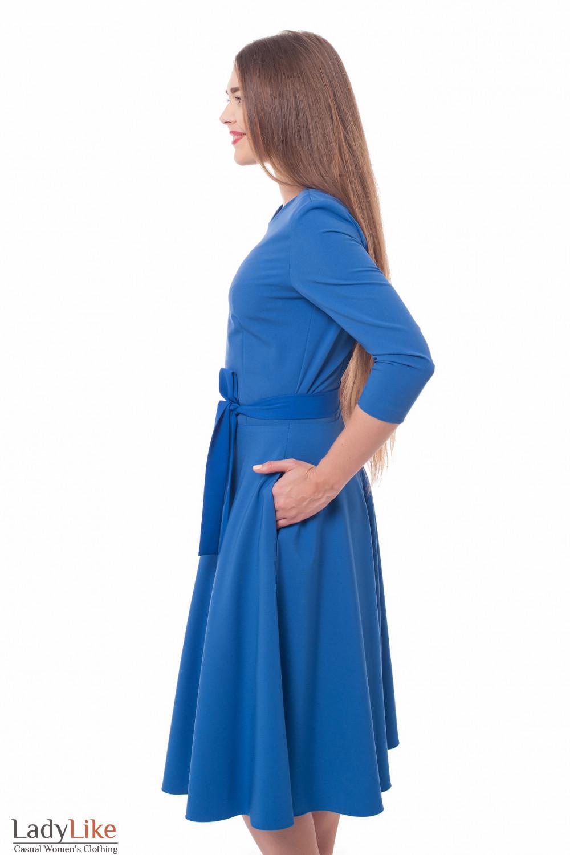 Платье синее нарядное Деловая женская одежда фото