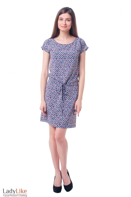 Купить платье с кулисой в ромбики Деловая женская одежда фото