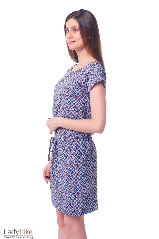 Купить платье с кулисой в разноцветные ромбики Деловая женская одежда фото