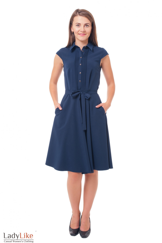 Платье с пышной юбкой и защипами синее Деловая женская одежда фото