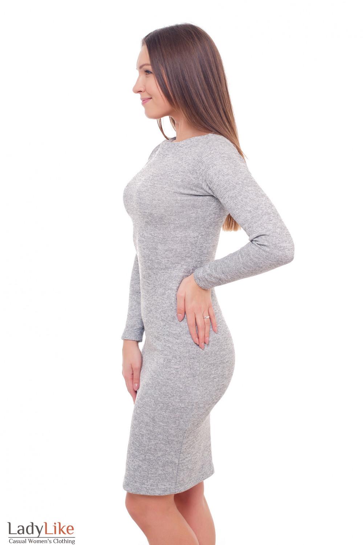 Купить платье серое с люрексом Деловая женская одежда фото