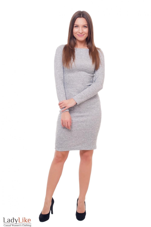 Купить нарядное серое платье с люрексом Деловая женская одежда фото