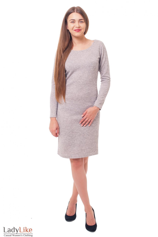 Купить платье серое теплое Деловая женская одежда фото