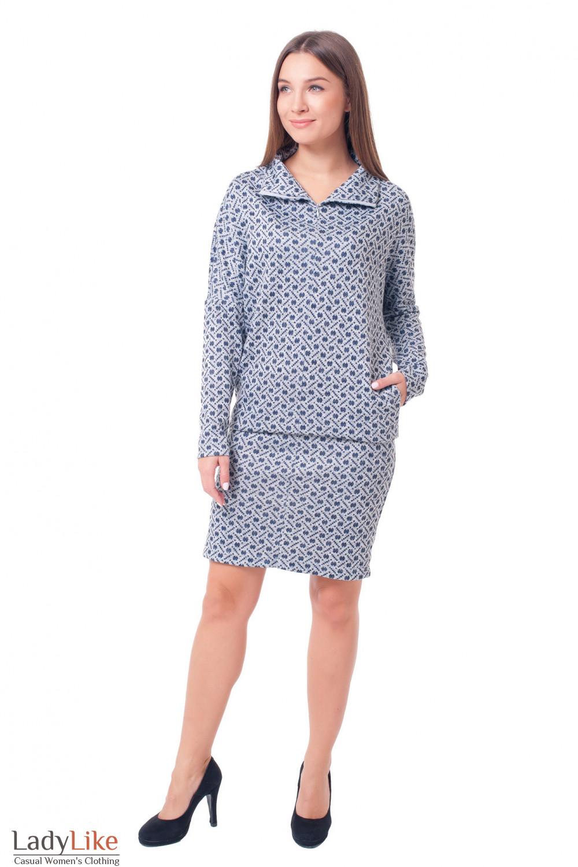 Купить теплое платье в синий кружок Деловая женская одежда фото