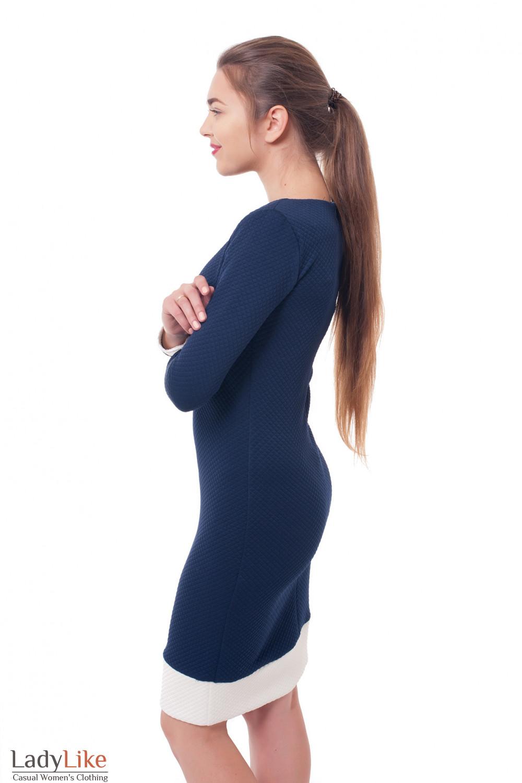 Купить платье синее с белыми манжетами Деловая женская одежда фото