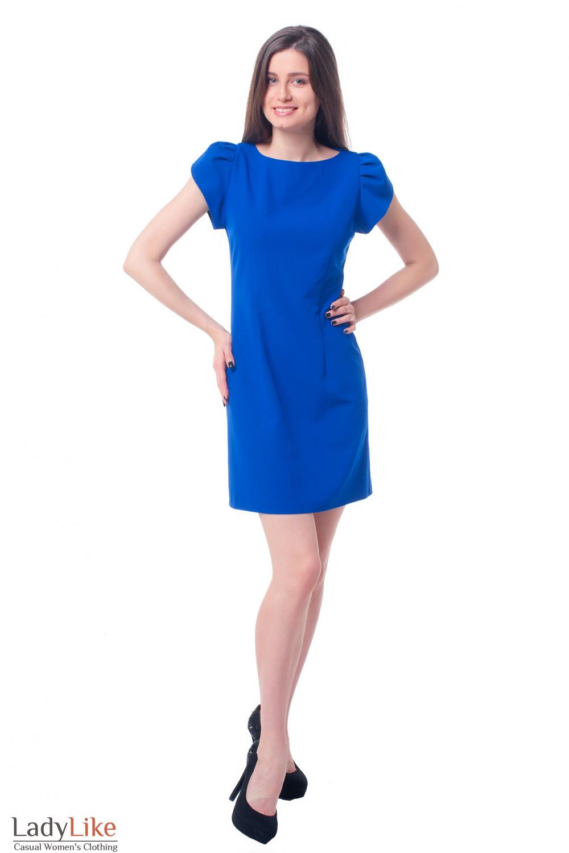 Купить платье электрик с рукавом ракушка Деловая женская одежда фото