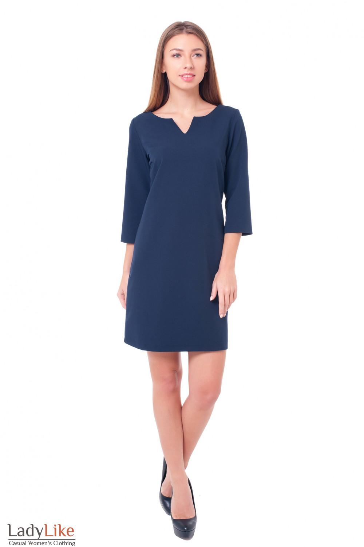 Купить платье синее с V-образной горловиной Деловая женская одежда фото