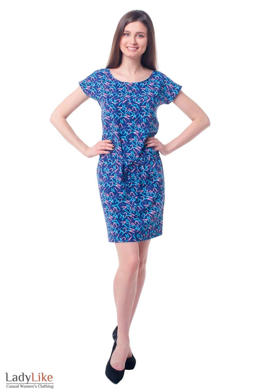 Купить платье-тунику в синие буквы Деловая женская одежда фото