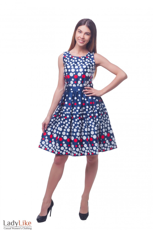 Нарядное пышное платье в горох Деловая женская одежда фото