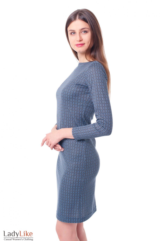 Купить платье синее в мелкую ромашку Деловая женская одежда фото
