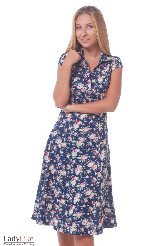 Платье синее в розы с воротником. Деловая женская одежда