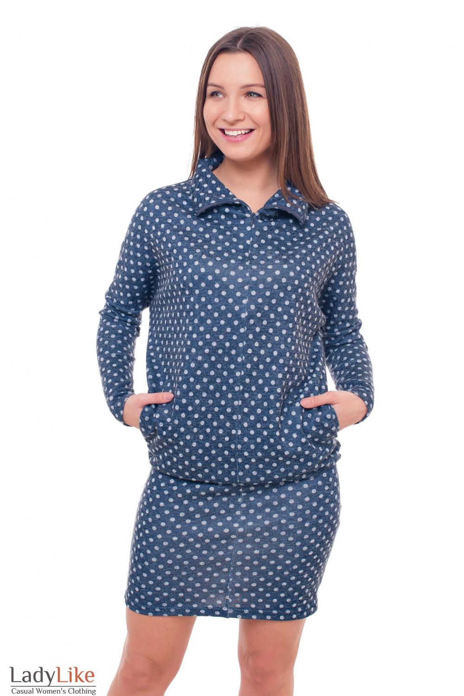 Платье синее в серый горох Деловая женская одежда фото