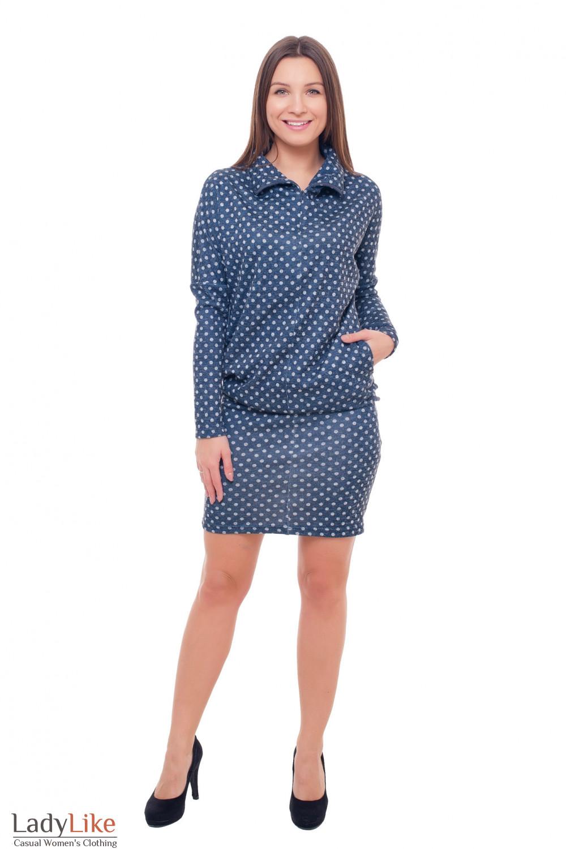 Купить теплое платье синее в серый горох Деловая женская одежда фото