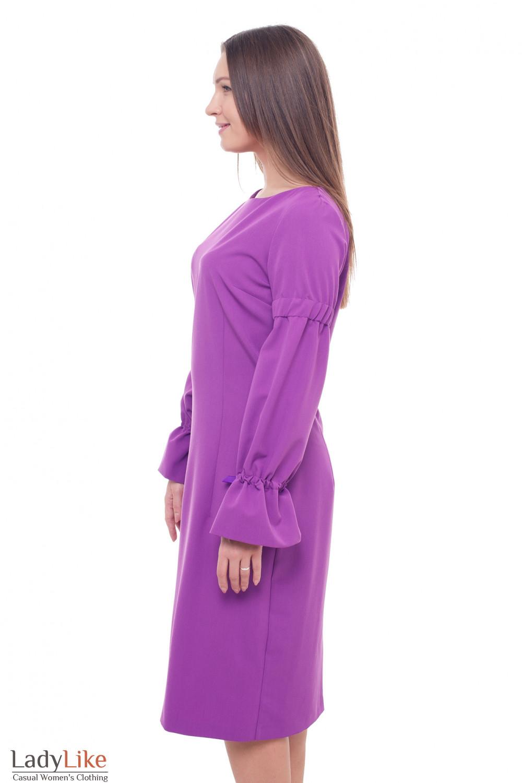 Купить платье сиреневое с лентой в рукавах Деловая женская одежда фото