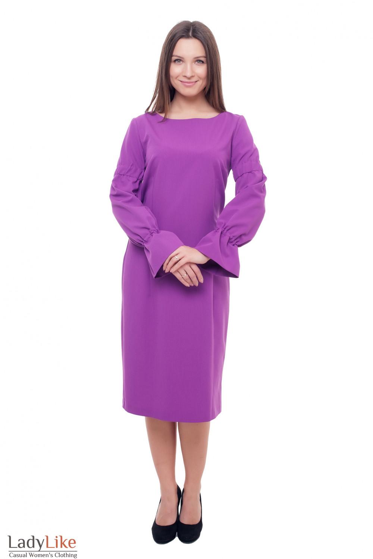 Нарядное сиреневое платье с длинным рукавом Деловая женская одежда фото