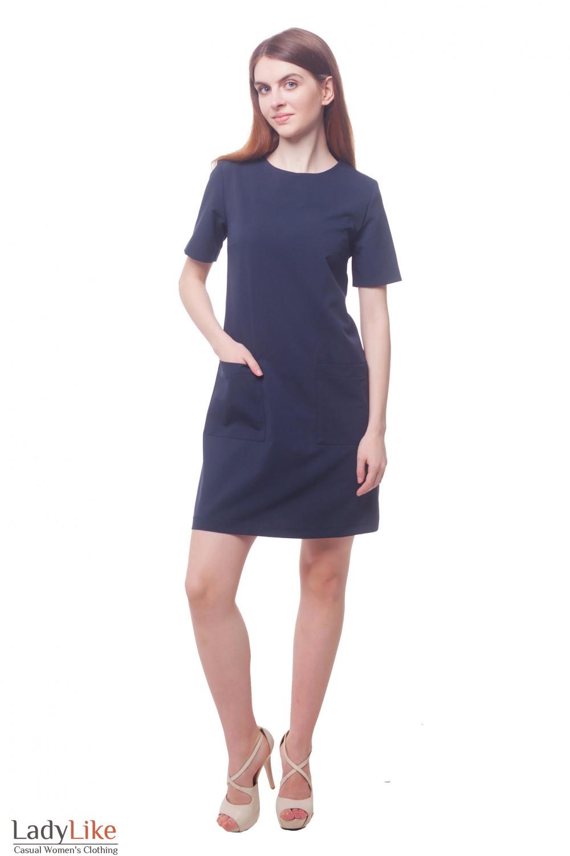 Купить синее платье с накладными карманами Деловая женская одежда фото