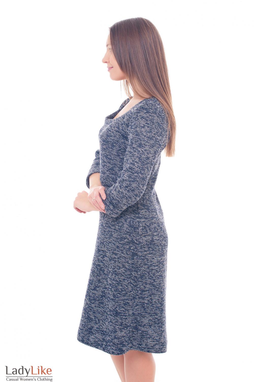 Купить теплое синее платье-трапецию Деловая женская одежда фото