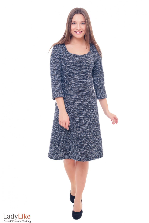 Купить теплое синее платье с юбкой-трапецией Деловая женская одежда фото