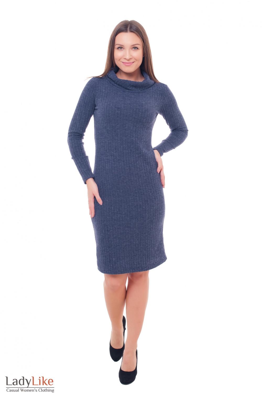 Купить платье синего цвета с широким воротником Деловая женская одежда фото