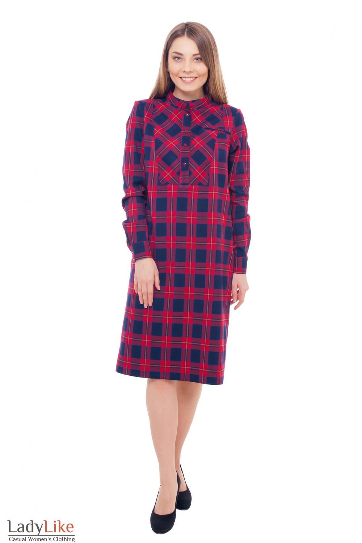Купить платье теплое в красную клетку Деловая женская одежда фото