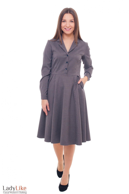 Купить платье теплое в коричневую лапку с карманами Деловая женская одежда фото