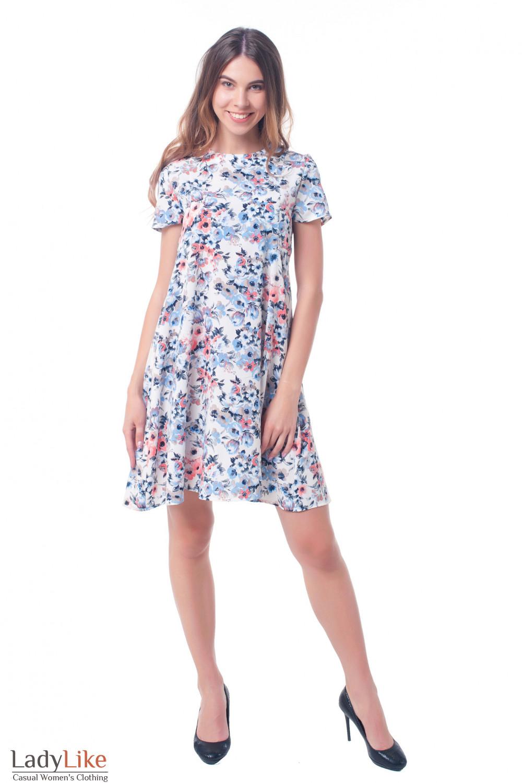 Купить платье А силуэта в цветы Деловая женская одежда фото