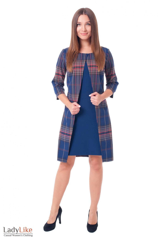 Купить синее платье в клетку с синей вставкой Деловая женская одежда фото