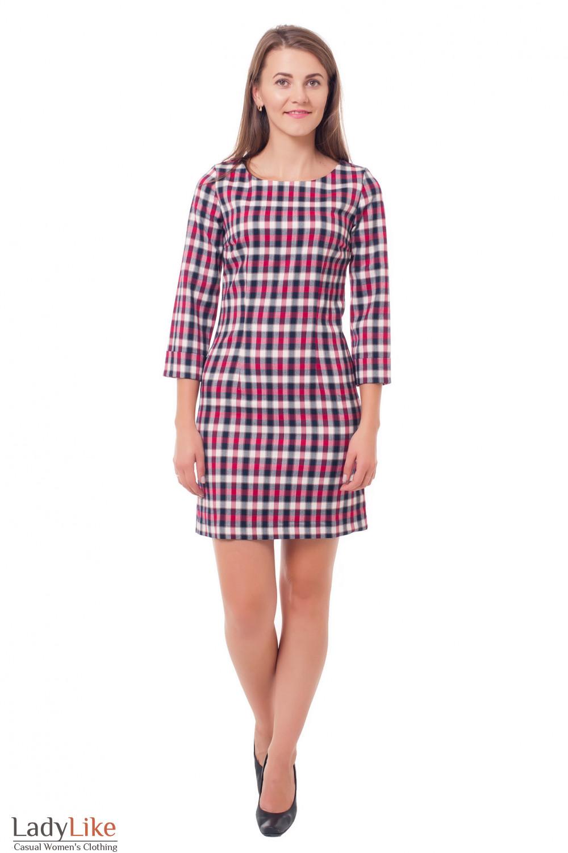 Купить платье в малиновую клетку Деловая женская одежда фото