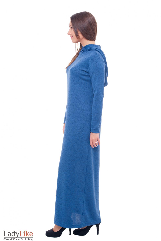 Купить трикотажное платье в пол с капюшоном Деловая женская одежда фото