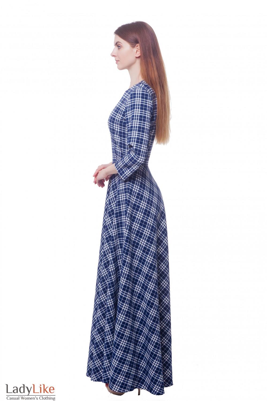 Купить платье в пол синее в белую клетку Деловая женская одежда фото