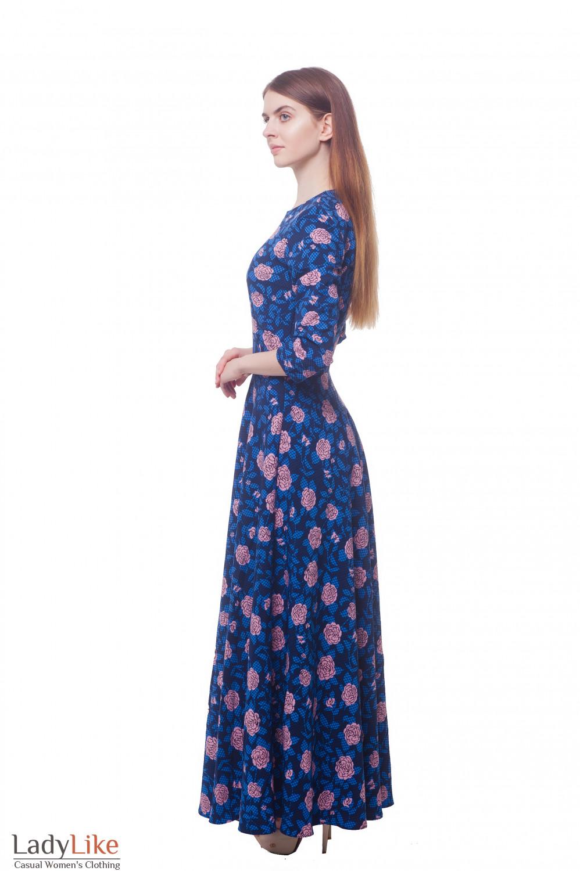 Купить платье в пол в кремовые розы Деловая женская одежда фото