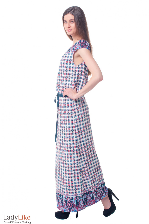 Купить платье в пол в зеленые кружочки Деловая женская одежда фото