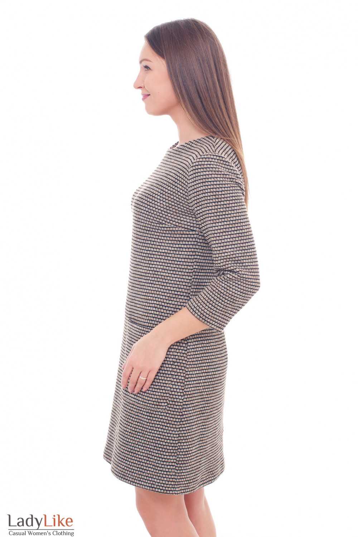 Купить теплое платье в бежевую полоску Деловая женская одежда фото