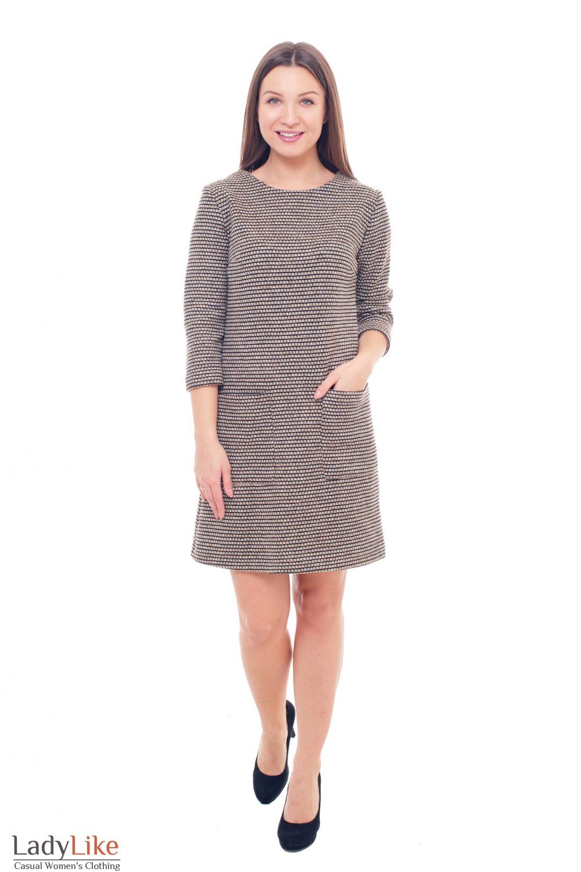 Купить теплое платье в бежевый узор Деловая женская одежда фото