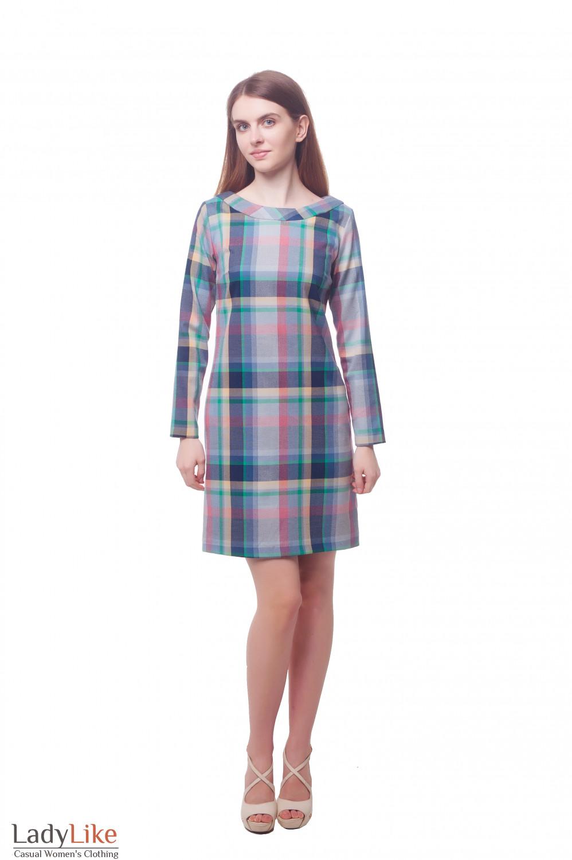 Купить платье в желто-зеленую клетку Деловая женская одежда фото