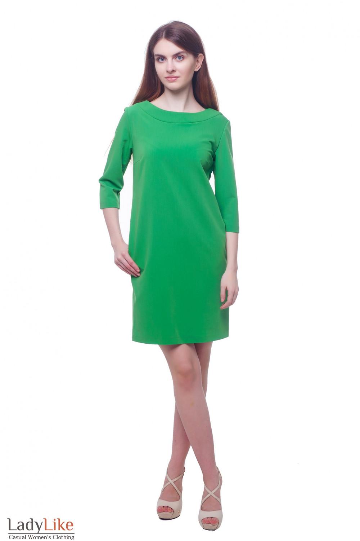 Купить зеленое платье с круглой горловиной Деловая женская одежда фото