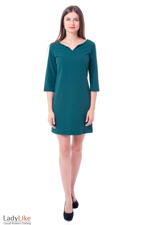 Купить платье зеленое с V-вырезом Деловая женская одежда фото