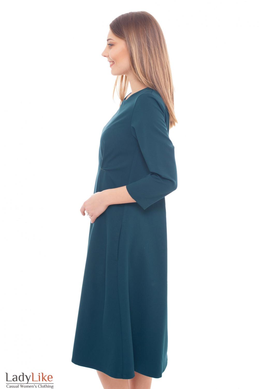 Купить платье зеленое с защипами на талии Деловая женская одежда фото