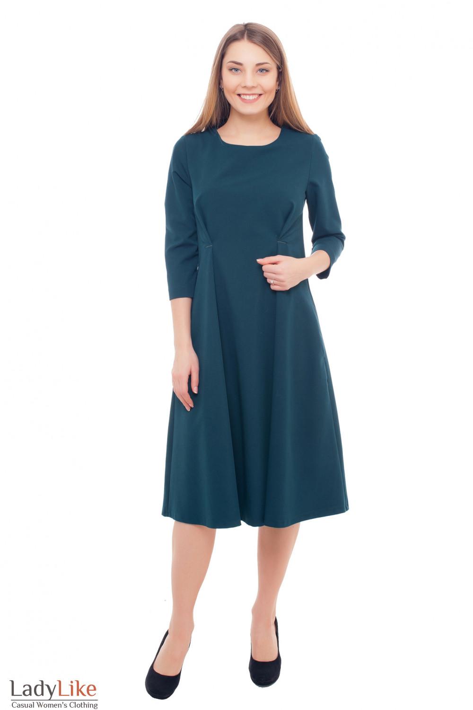 Купить зеленое платье-миди с защипами на талии Деловая женская одежда фото
