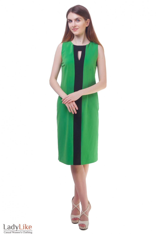 Купить сарафан зеленый с черной вставкой Деловая женская одежда