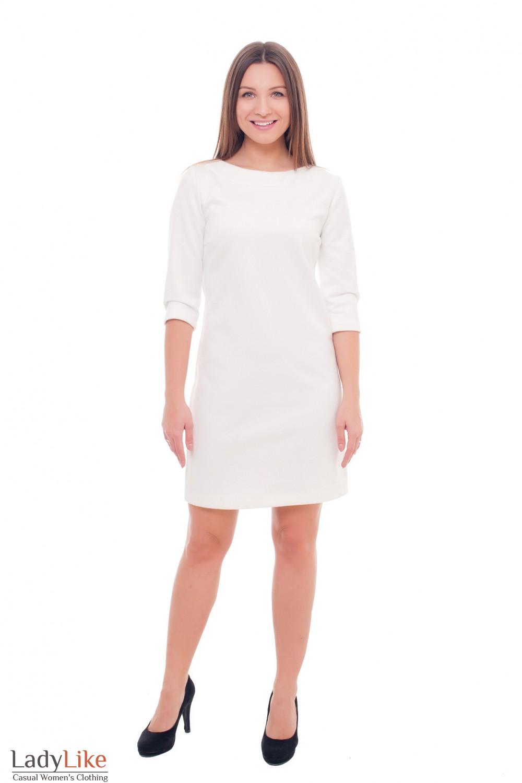 Купить теплое белое нарядное платье Деловая женская одежда фото