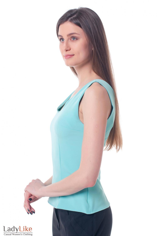 Купить бирюзовый приталенный топ Деловая женская одежда фото