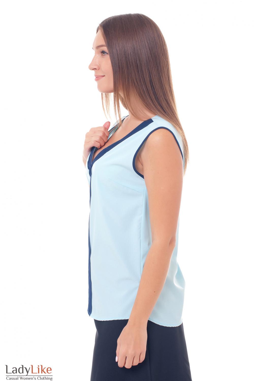 Купить топ голубой с синей вставкой Деловая женская одежда фото
