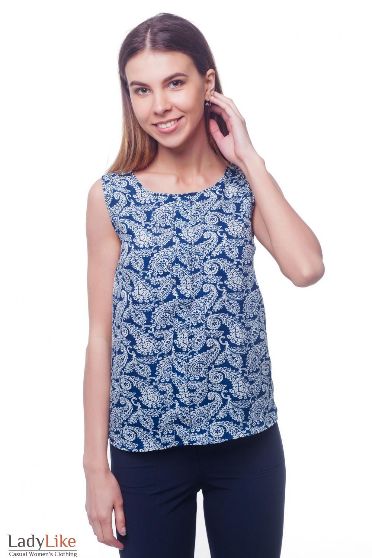 Топ синий в белый узор с бантовой складкой Деловая женская одежда фото