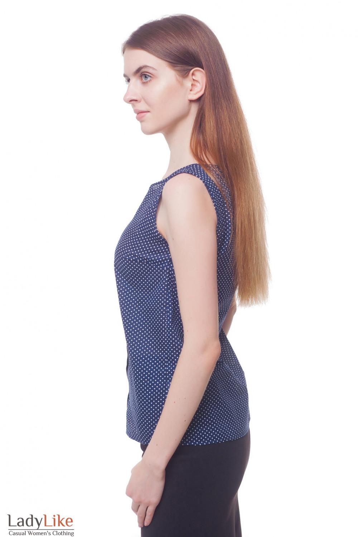 Купить топ синий в мелкий горох с планкой Деловая женская одежда фото