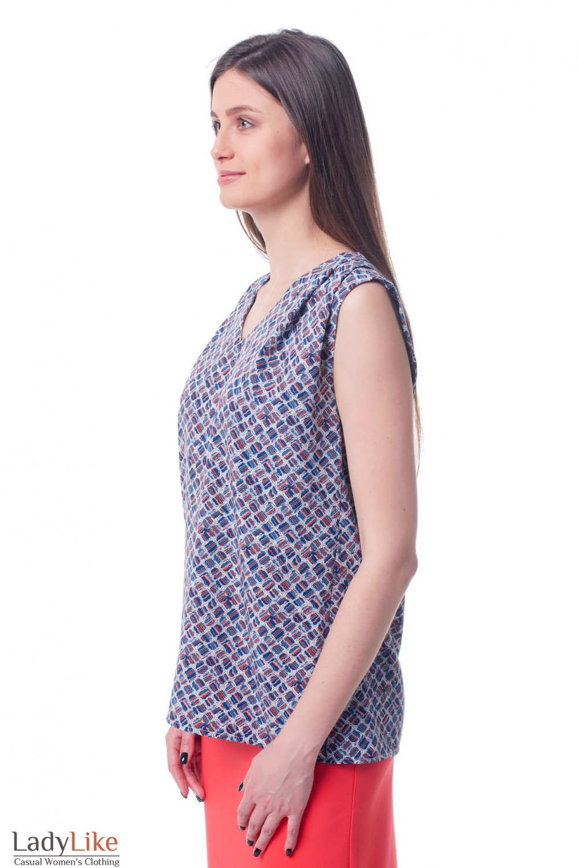 Купить топ в ромбы с защипами на плече Деловая женская одежда фото