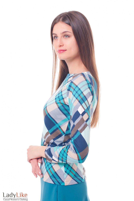 Купить тунику в бирюзово-синюю клетку Деловая женская одежда фото