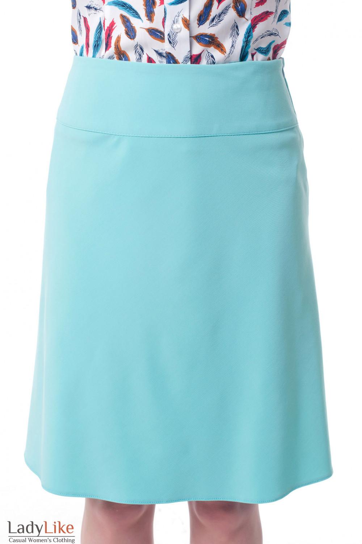 Юбка-трапеция бирюзовая Деловая женская одежда фото